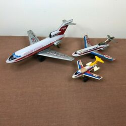 Lot Of 3 Vintage Japan Lithograph Tin Toy Boeing 727 Friction Airplanes