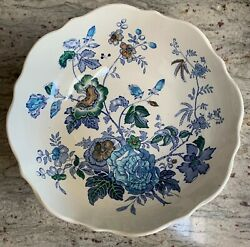 Belvedere Blue Multicolor By Mason's 10 1/8 Dia. Footed Vegetable Bowl 4 1/4 H
