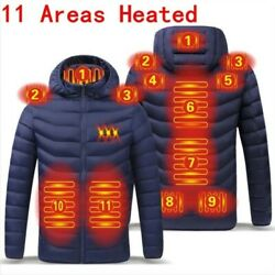 11 Areas Unisex Usb Electric Heated Thermal Warm Hooded Jackets Long Sleeve Coat