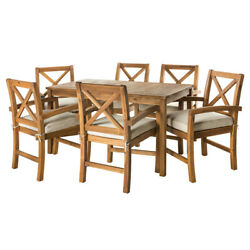 Acacia Wood Simple Patio 7-piece Dining Set W/ X-shaped Back - Brown