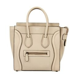 Celine Micro Luggage Tote Bag In Beige Leather With Silver Hardware