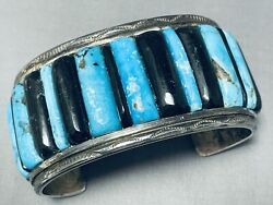 One Of The Best Vintage Navajo Turquoise Inlay Sterling Silver Bracelet