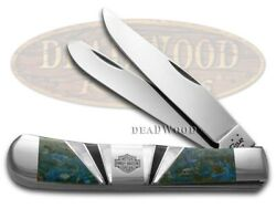 Case Xx Harley Davidson Trapper Knife Exotic Blue Coral And Mother Of Pearl 52176
