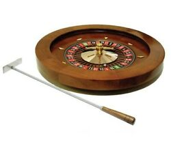 16 Wooden Casino Roulette Wheel And Metal Rake