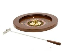 18 Wooden Casino Roulette Wheel And Metal Rake
