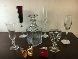 6 Sets Of 5 Glasses, 1 Butterfly, 1 Baccarat Crystal Decanter Price For 1 Set