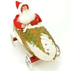 Vintage German Christmas Candy Container Santa In Pine Cone Car On Wheels Htf