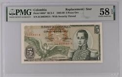 Colombia 5 Pesos 1965 P406b Replacement / Star Pmg 58 Choice About Unc Epq Rare