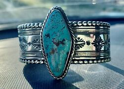 Sale Beautiful Authentic Navajo Sterling Silver And Turquoise Bracelet