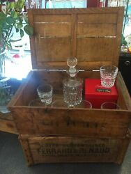 Wooden Box And 4 Whiskey Glasses + 1 Decanter Baccarat Crystal Set