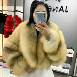 Top Quality Women's Real Fox Fur Coat With Big Lapel Thick Natural Fur Outerwear