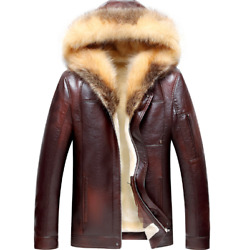 Mens Coats Leather Fur Collar Lined Hodded Slim Motorcycle Jacket Warm Casual L