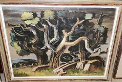 Milford Zornes Watercolor, 1949 - Oaks Of Nipomo California Signed And Dated