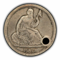 1837 H10c Seated Liberty Half Dime - Vf Dets - 40 Deg Rev - Value Coin - T2827