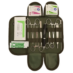First Aid Surgical Kit Elite Stocked Field Medic Suture Trauma Survival 1st Aid