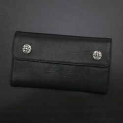 Chrome Hearts Chromehearts With Warranty Wave Wallet Tri-fold Long Cross Button