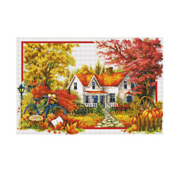 Prettyia Stamped Cross Stitch Kit 11ct Embroidry Package - Seasons Landscape