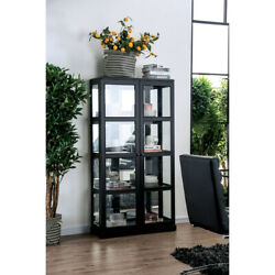 Saltoro Sherpi Transitional Wooden Curio Cabinet With Two Glass Doors And Four