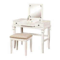 Wooden Vanity Set With Flip Top Mirror And 2 Drawers White And Beige