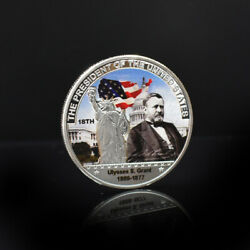 Grant Silver Plated Coin Us 18th President Challenge Metal Coins For Collection