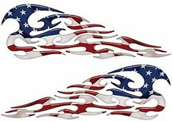 Tribal Flame Decals American Flag Motorcycle Tank Saddle Bag 13 Reflective Fl01