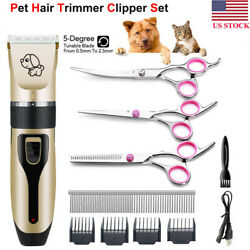 Professional Pet Dog Cat Hair Trimmer Grooming Clipper Cordless Shaver Scissors