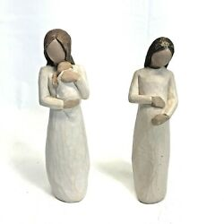Willow Tree Cherish Pregnant And Angel Of Mine New Baby Figurines By Susan Lordi