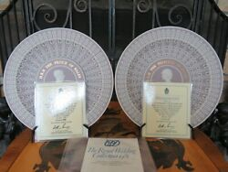 Pair Of Wedgwood Tricolor Lilac Jasperware Diced Trophy Plates Royal Wedding Le