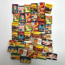 Vintage German Toy Food Grocery Shop Mini Play Boxes Dollhouse 37 Pieces