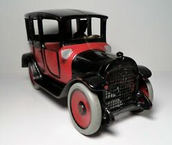 Vintage Large Arcade Two Tone Black And Red Cast Iron Taxi Cab 8 1/2 Hubley