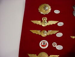 Incredible 5 Pcs National Airlines Badges,pins Captain,crew,ruby,10k