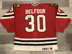 Autographed Authentic Ccm Ed Belfour Chicago Blackhawks Red Nhl Hockey Jersey
