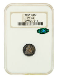 1858 H10c Ngc/cac Pr 66 Oh Old Ngc Holder - Seated Half Dime - Old Ngc Holder