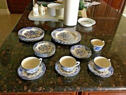 Antique Bristol Blue Scalloped China By Crown Ducal - Rare Find