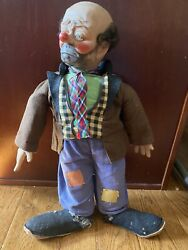Vintage Willie The Clown Hobo Doll By Emmett Kelly / Baby Barry Toys 1950s
