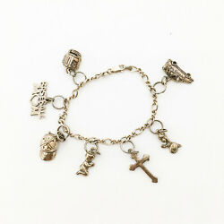 Vintage Sterling Silver Charm Bracelet With Charms Baseball Mom, Moms Taxi 7