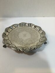 """Martin Hall And Co. Sheffield England Sterling Silver 8 1/2""""salver / Tray 1867"""