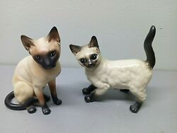 2 Lefton Siamese Cat Figurines Japan Blue Eyes Red Label Kitten Collectibles