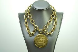 Vintage Donna Karan 1980's Gold Plated Medallion Coin Chain Necklace