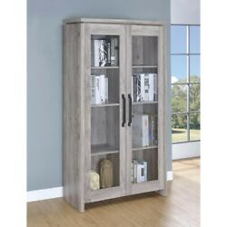Spacious Wooden Curio Cabinet With Two Glass Doors, Gray