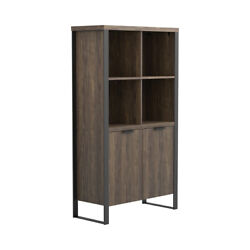 Saltoro Sherpi Wooden Bookcase With 2 Doors And Metal Frame, Brown And Black