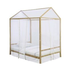 Saltoro Sherpi Twin Size Metal Canopy Bed With Sheer Net And Overhead Led