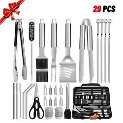 29pcs Bbq Grill Accessories Camping Stainless Steel Utensils Tools Set Dad Gift