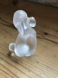 Stunning Frosted Glass Cristal Sevres Poodle Dog Figurine Collectible France
