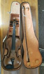 Antique Violin Stamped A. Curtil Paris With Solid Wood Case And Tubbs Bow