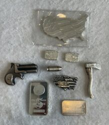 25 Ounces Silver Bars Lot, Assorted Hand Poured Bars, .999 Fine Silver