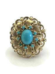 Magnificent Antique 14k Yellow Gold And Turquoise Ring