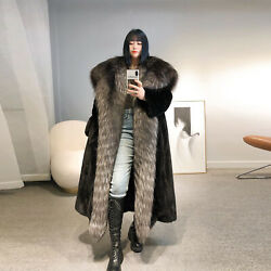 Top Quality Women Real Mink Fur Coat With Silver Fox Fur Collar X-long Outerwear