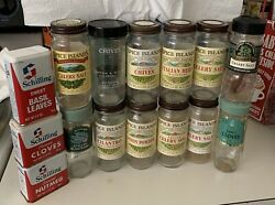 15 Vintage Spice Tins And Empty Glass Bottles Schilling Spice Islands Mccormick
