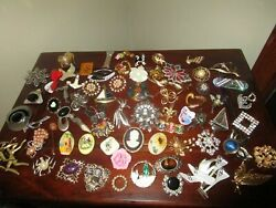 Lot Of 150 Rhinestone Mixed Vintage Jewelry Brooches,tie Tack Pins And More